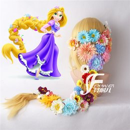 Long Hair Wave Style Australia - Cosplay magic hair long hair princess   Le Pei double twist styling wig with flowers