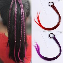 Colorful hair girls online shopping - 4 Colors Girls Colorful Wigs Hairbands Ponytail Ornament Headbands Rubber Bands Beauty Bands Headwear Kids Hair Accessories CCA11269