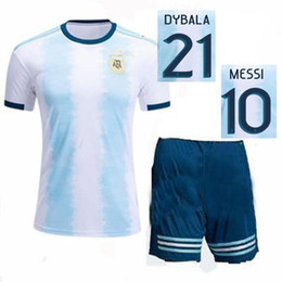 argentina l short Canada - 2019 Argentina Soccer Kit Home MESSI DI MARIA HIGUAIN Football Shirts 19 20 Nation Team Adult Blue White Football Sets