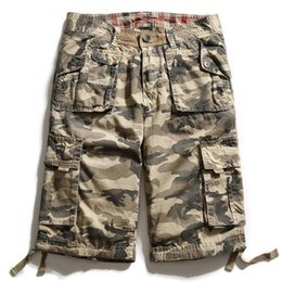 mens knee length cargo shorts Australia - 2019 New Summer Multi-pocket Camouflage pants Mens Shorts Casual Loose Camo Knee-length Mens Cargo Shorts Plus Size