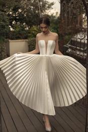 $enCountryForm.capitalKeyWord Australia - 2019 Short Wedding Dresses Strapless A Line Ruffles Tea Length Satin Beach Wedding Gowns Custom Made Cheap Bridal Dress