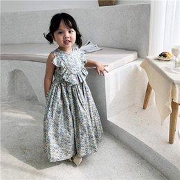 $enCountryForm.capitalKeyWord NZ - Ins Euro Exquisite Summer girls Clothes dress Sleeveless Round Collar Full Flower Design Long Dress 100% Cotton Summer girl Princess Dress