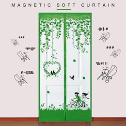 Wholesale Magnet Mosquito Net Summer Anti Mosquito Mesh Durable Bicycle Lovers Pattern Anti Insect Fly Patio Magnetic Door Curtains