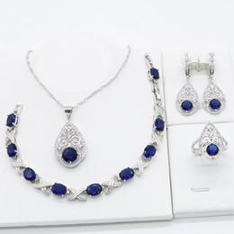 $enCountryForm.capitalKeyWord Australia - Royal Blue Semi-precious 925 Silver Jewelry Sets for Women Necklace Pendant Bracelet Ring Earrings Christmas Birthday Gift