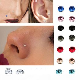 nose rings packs NZ - crystal Magnetic stud earring Fake magnet Nose Ear Lip Stud non piercing tragus nose stud 8 pairs pack