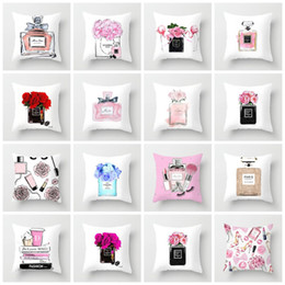 $enCountryForm.capitalKeyWord Australia - ZENGIA 45cm*45cm Hand painted flowers and perfume bottles super soft cushion cover and sofa pillow case Home decorative pillows