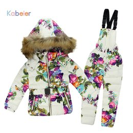 Children Winter Ski Suit Australia - Winter Clothing Set for Girls Flowers Down Coat +Overalls Suits Warm Windproof Snowsuit Toddler Children Ski Suit Sintepon 1-7 Y