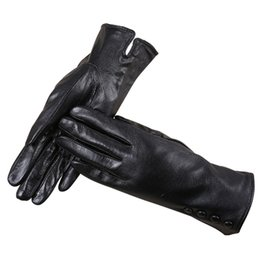 Leather Gloves For Ladies Australia - Womans Leather Gloves Sheepskin Gloves For Women Ladies Black Guantes Genuine Leather Fashion Womans 2018 Mittens