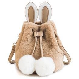 Discount mini buckets cartoon - Faux Fur Ball Mini Women Shoulder Bags Cartoon Rabbit Female Bucket Bag Small Women Messenger Bag