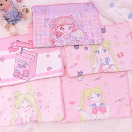 horse stationery UK - Japan Sailor Moon Stationery Cute Animal A4 File Pu Leather Holder Bag Kawaii Ducoment Bags office Material school Supplies