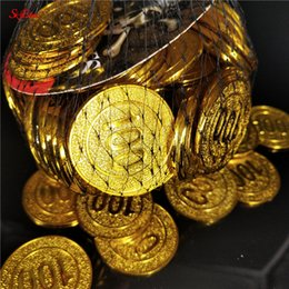 wholesale casino chips Australia - 50 100pcs Hot poker casino chips model gold plating Plastic Pirate Gold Coins Game currency Treasure Coins 6z
