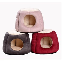 $enCountryForm.capitalKeyWord Australia - Foldable Home Pet Dog Bed Cat Puppy Winter Warm Dog House Nest With Mat Breathable Chihuahua Cat Beds Mat Cushion T8190701