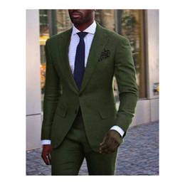 Best Tie For Blue Suit Australia - Green Wedding Tuxedos 2019 peaked Lapel Groom Suits Best Man Suit Men Suits For Prom (Jacket+Pants+Tie)