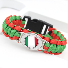 $enCountryForm.capitalKeyWord Australia - 10 Styles Fashion Jewelry Alloy Glass Cabochon Italy National Flag Bracelet Woven Green Red Umbrella Rope Leather Womens Mens Casual Bangles