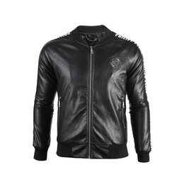 Wholesale locomotive leather resale online - 2019 Fashion temperament men s leather clothing Kali leather simple locomotive self cultivation stand collar Motorcycle leather M XL
