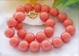 8mm Red Coral Beads Australia - necklace Free shipping ++++810 Genuine 8mm South Sea Coral Color Shell Pearl Round Beads Necklace