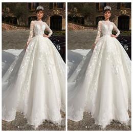 EuropEan modEls lacE drEss online shopping - Lace Appliques Long Sleeves A Line Wedding Dresses Modest European Fashion Muslim Bridal Gowns Custom Robe De Marriage