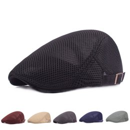 60843c9f7f9af Fashion Men Breathable Mesh Beret Outdoor Causal Flat Newsboy Cap Solid  Color Travel Sport Sun Hat LJJT662