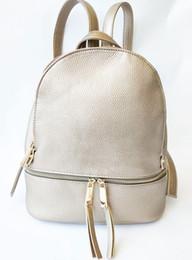 Mochila feMinina bag online shopping - Gold clour Genuine Leather Women Backpack Zipper School Bags for Teenagers Girls Female Shoulder Bag Mochila Feminina