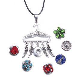 $enCountryForm.capitalKeyWord NZ - Noosa Snap Button Jewelry Gold Heart Hanger Feather Pendant Snap Necklace DIY 12mm Snap Necklace Jewelry Women