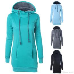 Wholesale hoodie dress online – oversize Women Casual Hooded Hoodie Long Sleeve Solid Color Sweater Loose Hoodie Long Tunic Sweatshirts Plus Hoodie Maxi Dress