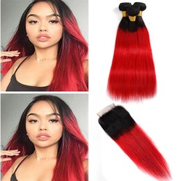 silky hair extensions 2019 - Brazilian Virgin Hair Extensions 3 Bundles With 4X4 Lace Closure Silky Straight 1B red Human Hair Wefts With Closure Str