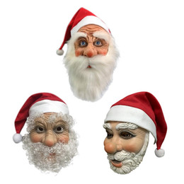 Discount mask santa claus face New Simulation Christmas Latex Mask Full Face Santa Claus Head Cover With Red Cap Adults Party Decoratio Mask For Christ