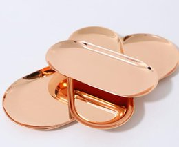 Wholesale Metal Items Australia - rose gold colour Colorful Metal Storage Tray Gold Oval Dotted Fruit Plate Small Items Jewelry Display Tray