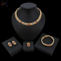 Wedding Gold Crystals Australia - 2019 New Fashion Design Pink Crystal Gold Color Alloy Jewelry Set For Women Wedding Big Occasion