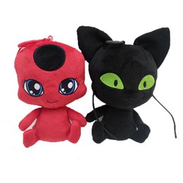 plush ladybug 2019 - 15cm 6 inches NEW ladyBug and black cat plush toys cartoon Stuffed Animals soft doll good quality keychain Pendant C6390