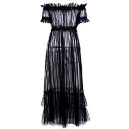 1fc34f60490 Women S Clothing Party Dresses Women s Club Sexy Dress One Designer Dress  Word Shoulder Perspective Gauze Dress
