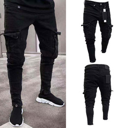 ciclistas al por mayor-Moda negro Jean Men Denim Skinny Biker Jeans Destroyed Frayed Slim Fit Pocket Cargo Pencil Pants Plus Size S XL