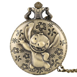 Wholesale Bronze Color Cute Stitch Design Quartz Pocket Watches Pendant Fashion Watch for Kids Creative Watches Clock Boys Girls Gifts New