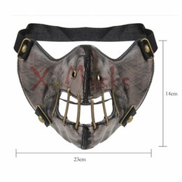 Discount female costume face mask - Retro Silence of the Lambs Red Dragon Mask Hannibal Barca PU Masks Punk Costume Cycling Running Face mask sports female