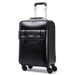 24 Inch Bag Australia - GraspDream 16 18 20 22 24 inch men business genuine leather hand luggage cabin travel trolley bags vs trolley suitcase on wheels