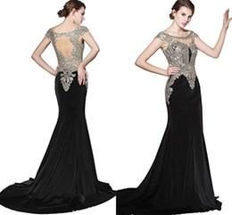 Chinese  100% Real Image 2019 Long Prom Dress Mermaid for Women Formal Evening Gown Designer Beaded Illusion Back Occasion Dresses In Stock manufacturers