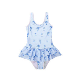 coconut tree swimsuit NZ - 2019 Summer kids swimsuits girls coconut trees printed one-piece swimwear kids sleeveless double falbala SPA beach bathing suits