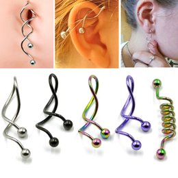 wholesale industrial barbell earring UK - BOG-1PC Twist Spiral Ear Industrial Spiral Navel Belly Button Ring Piercing Barbells Nombril Ombligo Earring Piercing Jewelry14g