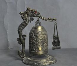 Ingrosso china bronze fengshui lucky dragon Monaco buddista statua di buddha Zhong Bell Chung