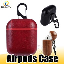Wholesale For Airpods Case PU Leather Cover with Hook Clasp Keychain Anti Lost Headphones Apple Airpod Earphone Cover Protector with OPP Bag izeso