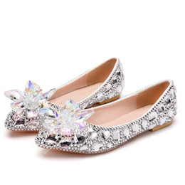 cinderella flats 2021 - Rhinestone Flat Heels Pointed Toe Luxurious Silver Crystal Cinderella Flower Prom Flat Heel Shoes Wedding Party Dancing