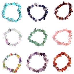 Natural Cura Cristal Pulseira Sodalita Chip Gemstone 18 centímetros trecho pulseira naturais pulseiras de pedra Mixed Gemstone Chakra Bracelet em Promoção