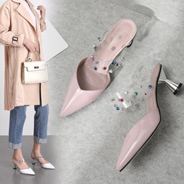 $enCountryForm.capitalKeyWord NZ - Goddess2019 In Early The Year Sharp High-heeled Shoes Coarse Wine Glass With Cool Joker Woman Slipper