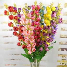 "Fake Orchid Flowers Australia - Fake Long Stem Bell Orchid 33.07"" Length Simulation Flores Convallariae for Wedding Home Decorative Artificial Flowers"