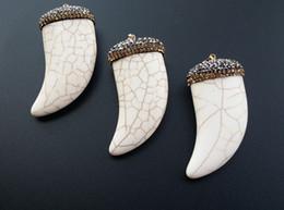 Tooth Crystal Australia - 3 pieces tophus Pendant,Horn Ivory shape Tusk Pendant, Zircon Pave,Rhinestone Crystal Caps Pendant,Natural white Tophus Tooth Pendant PD02