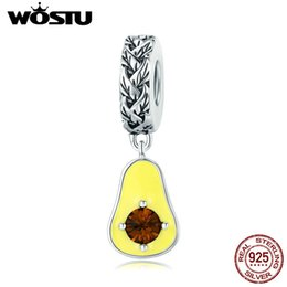 fruit bracelets UK - WOSTU 100% 925 Sterling Silver Fruit Avocado Glitter Zircon Charms Beads For Woman Bracelet Pendants Party Summer Jewelry CTC014