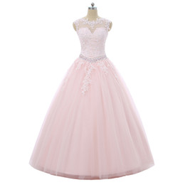dresses 15 anos UK - 2019 New Princess Pink Crystal Appliques Ball Gown Quinceanera Dresses Sequins Backless Plus Size Sweet 16 Dresses Vestidos De 15 Anos BQ135