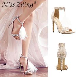 2019 Sexy Plus Size Summer Woman High Heel Sandals Genunin Leather Rhinestone  Feather tassels Thin High Heel Women Wedding Shoes Stilettos ea9a430eb86e