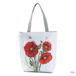 $enCountryForm.capitalKeyWord Australia - good quality Red Floral Printed Tote Handbag Female Large Capacity Canvas Shoulder Bag For Teenage Girls Summer Beach Bag