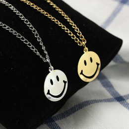 $enCountryForm.capitalKeyWord Australia - Bohomian Smiley Face Necklace Women Round Pendant Necklace For Women Metal Gold Color Sequins